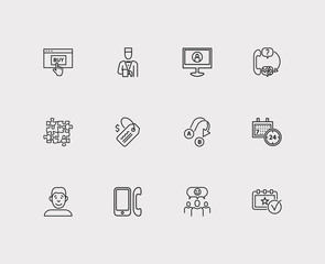 Customer service icons set. Team and customer service icons with export, 24/7 and user. Set of elements including talk for web app logo UI design.
