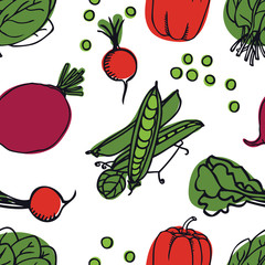 Food collection Fresh vegetables Radish, peas and spinach Seamless pattern