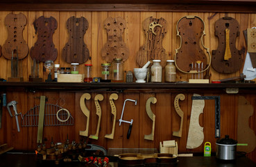 Tools for construction and restoration of violins are displayed in Jose Martin Prada's workshop in San Jose
