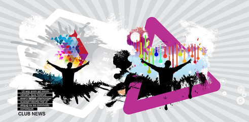 Music event background with dancing people