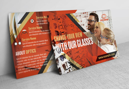 Optometry Postcard Layout with Red Accents