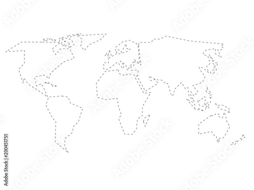 Simplified black dashed outline of world map divided to six simplified black dashed outline of world map divided to six continents simple flat vector illustration gumiabroncs Image collections