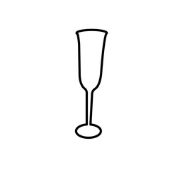 champagne flute outline on white background