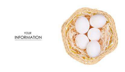 Chicken eggs in a basket pattern
