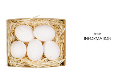 Chicken eggs in a basket box pattern