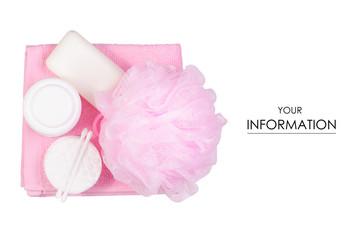 Set for bath soap cream sponge bath wadded pads towel pattern