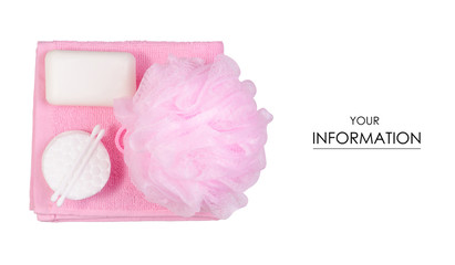 Set for bath soap sponge bath wadded pads towel pattern