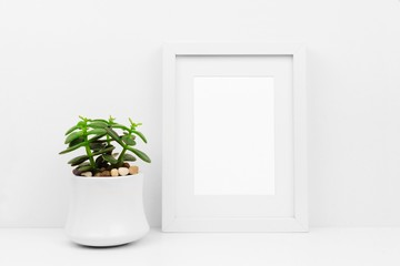 Mock up white frame and succulent plant in pot on a shelf or desk. White color scheme. Portrait frame orientation.