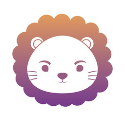 cute lion face icon over white background, colorful design. vector illustration