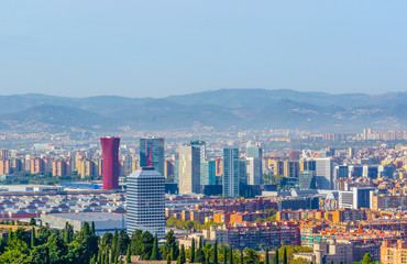 Aerial view of Barcelona from Montjuic castle, Spain.