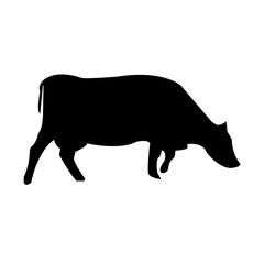 cow silhouette clip art on white background, in black