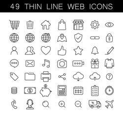Universal thin line web icons set. Black outline, no fill, fully editable icon set.