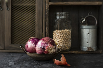 Onion In Rustic Kitchen