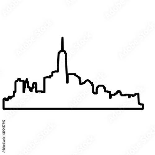 ny skyline outline on white background stock image and royalty free