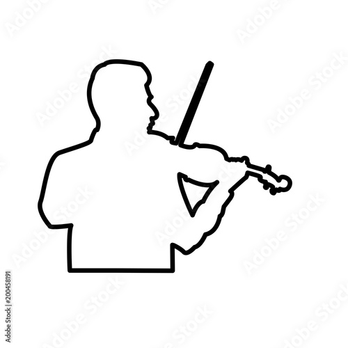 violinist outline on white background, a boy playing on the