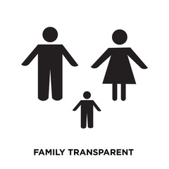 family transparent icion on white background, in black, vector icon illustration