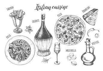 Pizza, chianti wine, mozzarella, spaghetti pasta, oil in a glass jug, parmesan, sabayon. Set of traditional dishes and products of Italian cuisine. Ink hand drawn Vector illustration. Food elements.