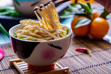Delicious noodles in bowl -Healthy food concept