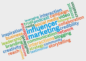influencer marketing word cloud against light grey background