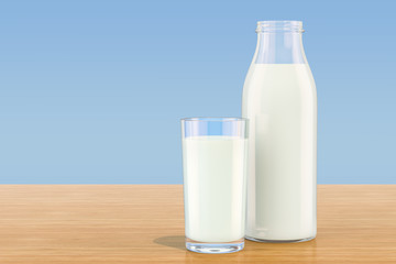 Milk bottle with glass of milk on wooden table, 3D rendering