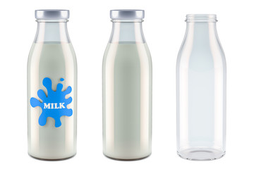 Milk bottles with label, full and empty. 3D rendering