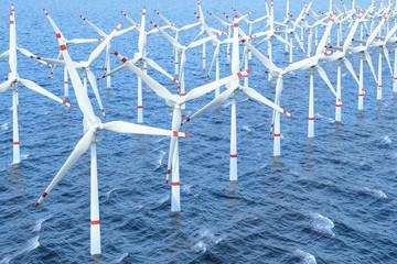 Wind farm, set of wind turbines in sea. 3D rendering