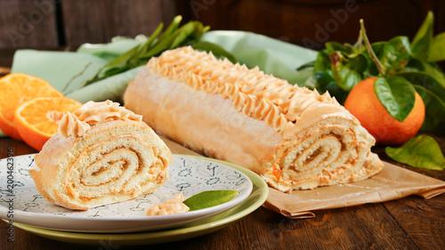 Cake Roll With Apple Jam And Lemon Curd Butter Orange Cream Stock