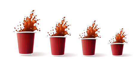 Coffee Red Ripple Cups with Splash 4 sizes Isolated on a White Background