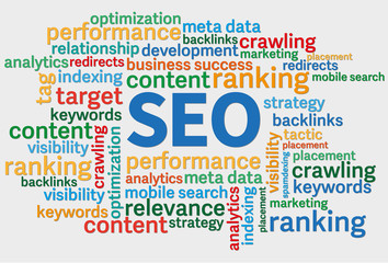 SEO search engine optimization word cloud against white background