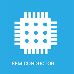 semiconductor icon on blue background, in white, vector icon illustration