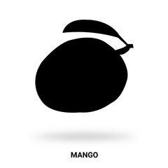 mango silhouette isolated on white background