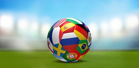 soccer ball flags 3d rendering