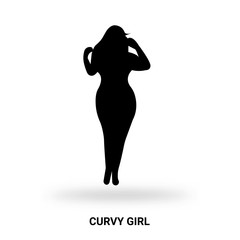 curvy girl silhouette isolated on white background