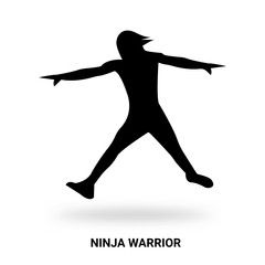 ninja warrior silhouette isolated on white background