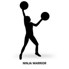 ninja warrior silhouette isolated on white background