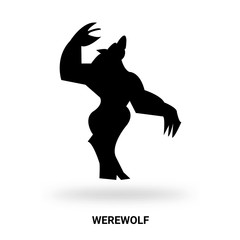 werewolf silhouette isolated on white background