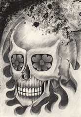 Art Skull Tattoo. Hand pencil and ink drawing on paper.