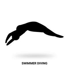 swimmer diving silhouette isolated on white background