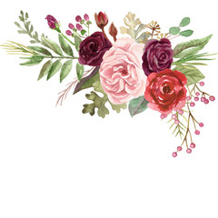 Watercolor Marsala and Blush Pink Roses