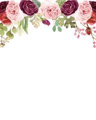 Watercolor Marsala and Blush Pink Roses