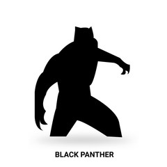 black panther silhouette isolated on white background