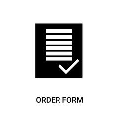 order form icon on white background, in black, vector icon illustration