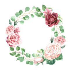 Watercolor Roses and Greenery Wreath