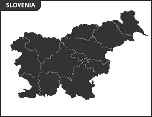 The detailed map of Slovenia with regions or states. Administrative division
