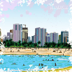 Watercolor splash sketch of Marina Dubai UAE. City and beach coast with sand beaches and people swimming at United Arab Emirates. Illustration. Vector.
