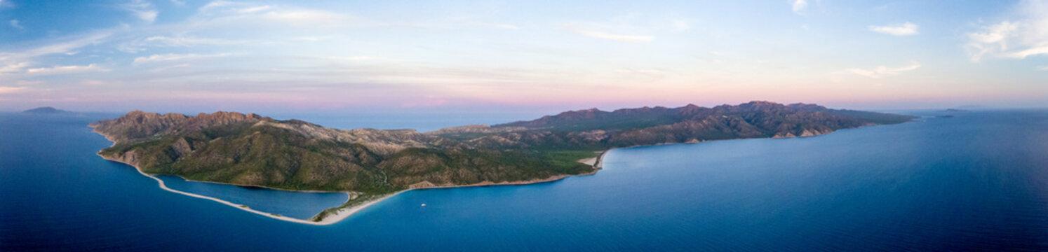 Aerial panoramic views of isla San Jose, Baja California  Sur, Mexico. Sea of cortez.
