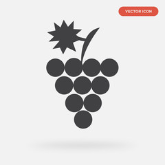 grape icon isolated on grey background, in black, vector icon illustration