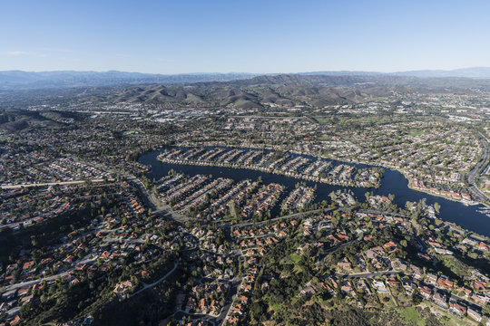Aerial view of Westlake Village and Thousand Oaks near Los Angeles in scenic Southern California.