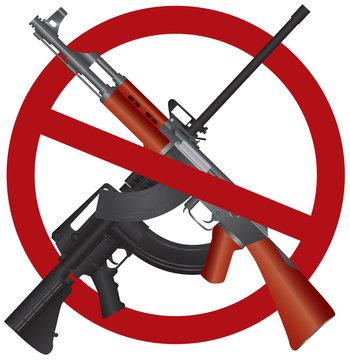 Assault Rifle AR 15 AK 47 Gun Ban Illustration