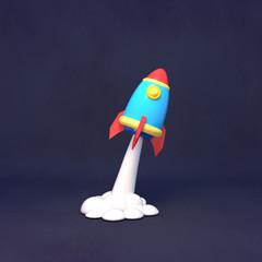 Cartoon space rocket sculpture. 3d rendering picture.